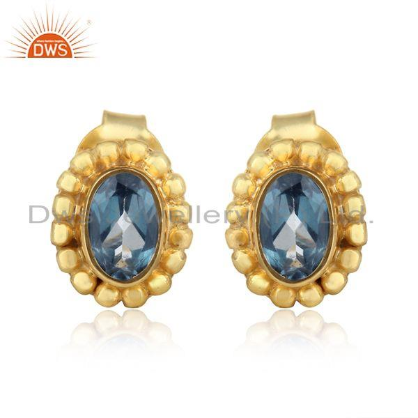 Handmade Stud in Yellow Gold on Silver 925 with London Blue Topaz
