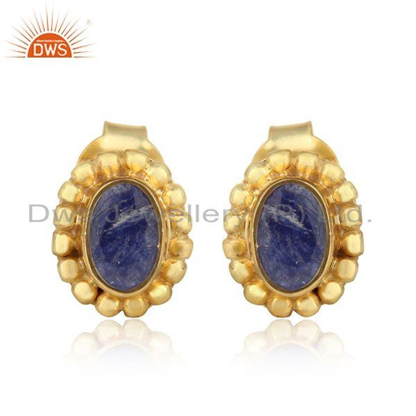 Texture Dainty Stud in Yellow Gold over Silver with Blue Sapphire
