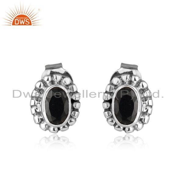 Natural Black Onyx Gemstone Designer Oxidized 925 Silver Stud Earring