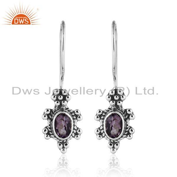 Black Oxidized Plated 92.5 Silver Amethyst Gemstone Earrings