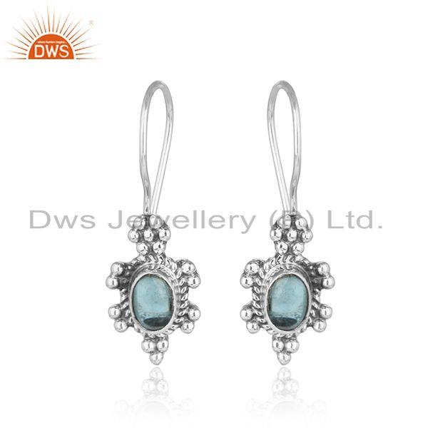 New oxidized 925 sterling silver blue topaz gemstone womens earring