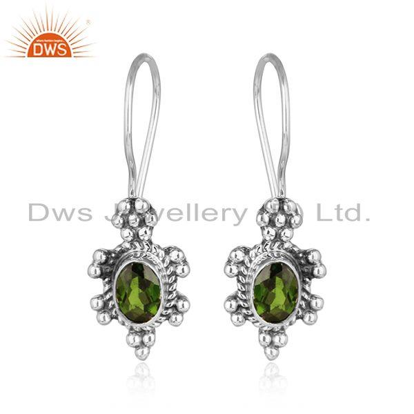 Chrome diopside gemstone designer indian oxidized silver earring