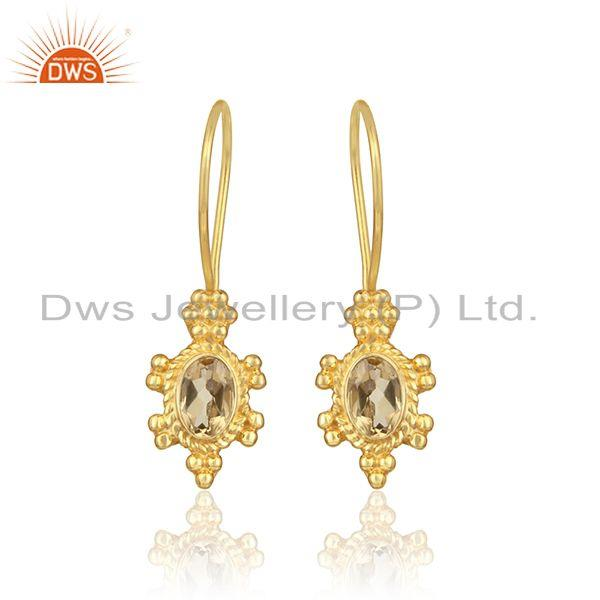 Designer Dangle Earring in Yellow Gold on Silver 925 with Citrine