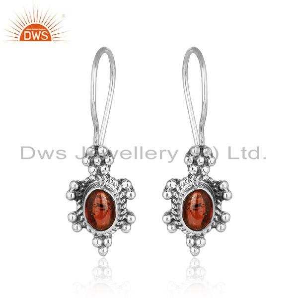 Natural garnet gemstone indian oxidized 925 silver womens earring