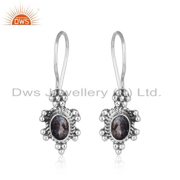 Iolite gemstone handmade 925 silver oxidized plated silver earring