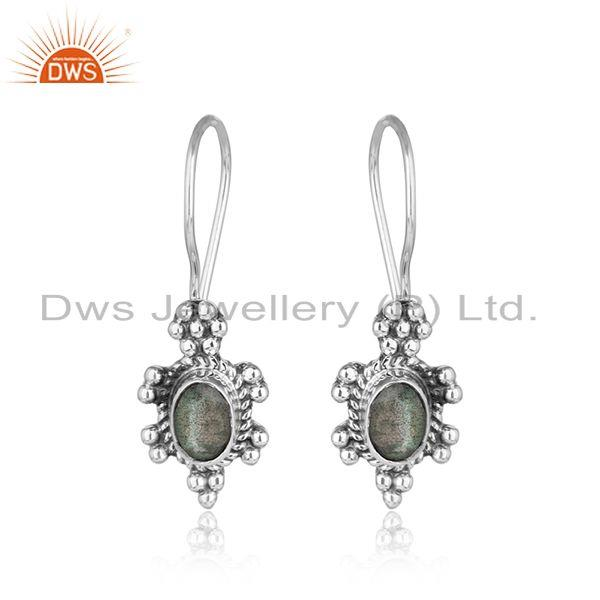 Natural labradorite gems designer antique oxidized silver earring