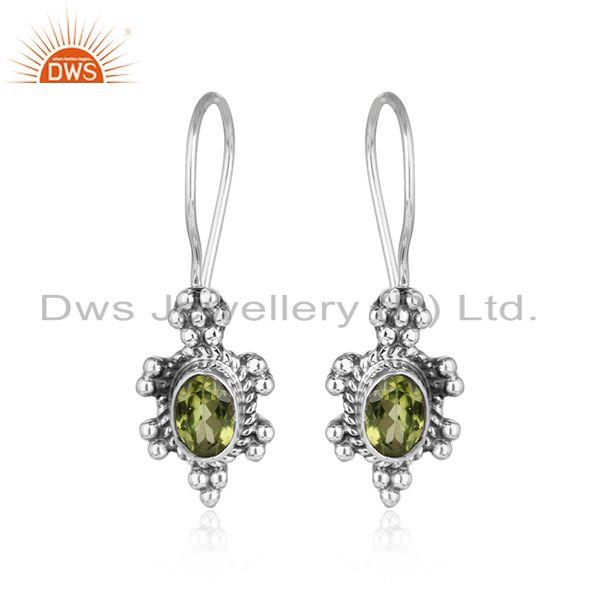 Designer oxidized silver natural peridot gemstone earrings jewelry