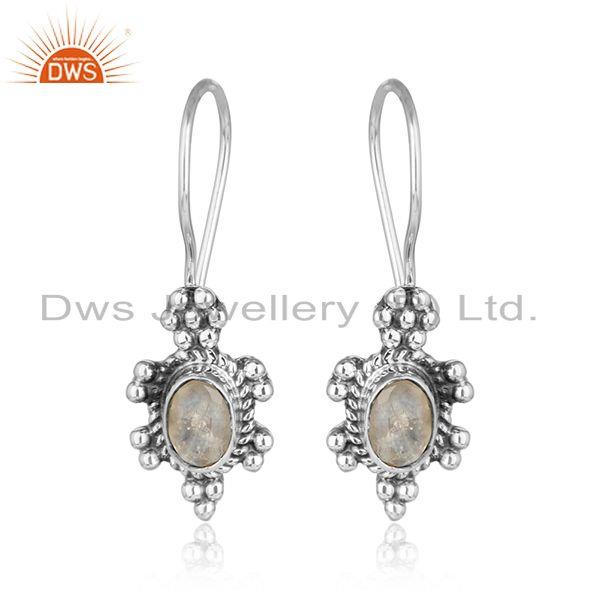 Rainbow moonstone womens oxidized 925 silver gemstone earrings