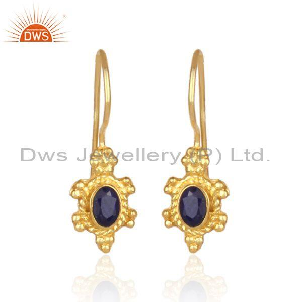 Sapphire natural corundum gold on 925 silver fancy earrings