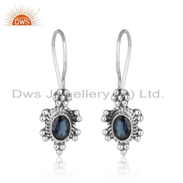 Blue Sapphire Gemstone Designer Womens Silver Oxidized Earrings