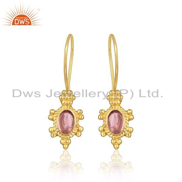Handcrafted earring in yellow gold on silver with pink tourmaline