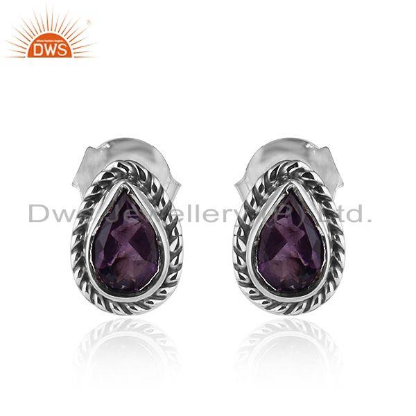 Pear Shape Amethyst Gemstone Oxidized 92.5 Silver Stud Earrings