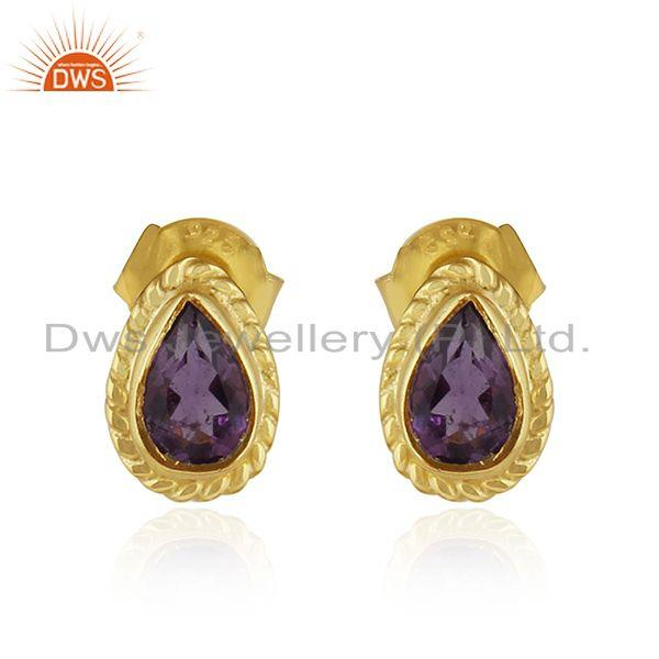 Designer 18k Gold Plated Silver Amethyst Gemstone Stud Earrings