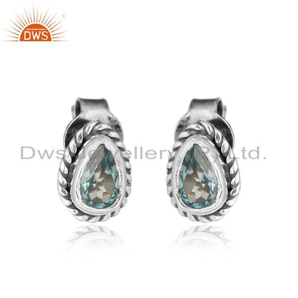 Pear shape blue topaz gemstone oxidized 925 silver stud earring