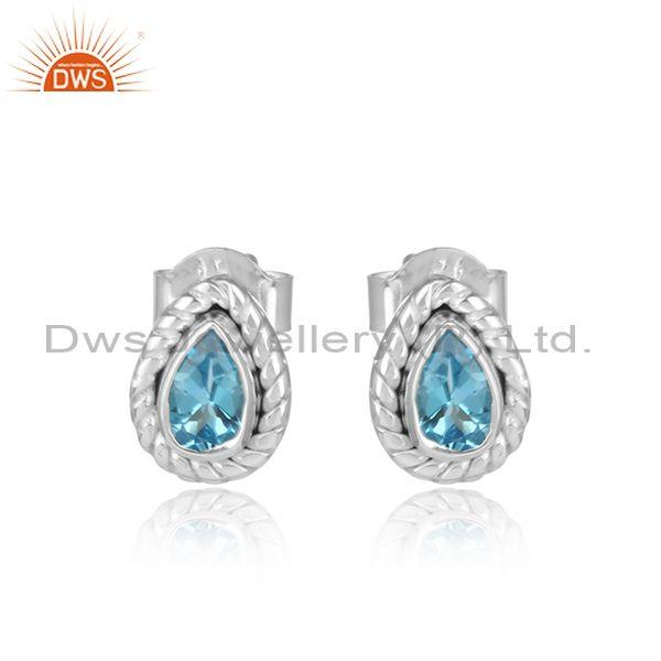 Pear Shape Sterling Silver Natural Blue Topaz Stud Earring