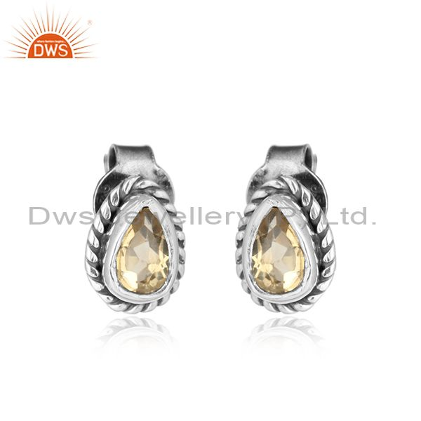 Citrine gemstone designer antique oxidized 925 silver stud earrings