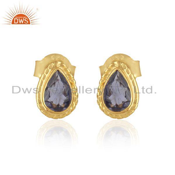 Handmade stud in 18k yellow gold over silver 925 with iolite
