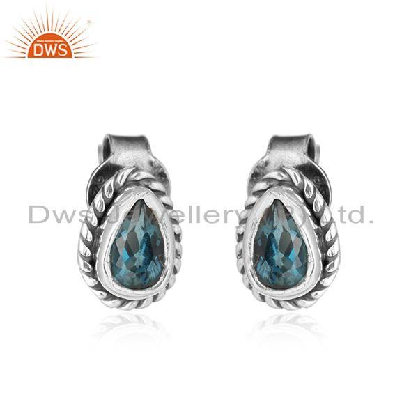 London blue topaz gemstone oxidized designer silver stud earrings