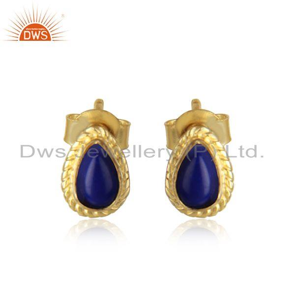 Lapis Lazuli Gemstone Silver Gold Plated Designer Stud Earrings