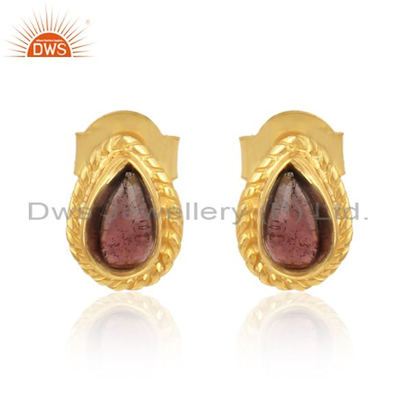 Pear shape pink tourmaline gemstone gold plated silver earrings