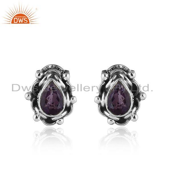 Black Oxidized 92.5 Silver Amethyst Gemstone Stud Earring Jewelry