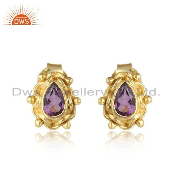 Designer gold plated 925 silver amethyst gemstone stud earrings