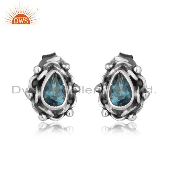 Oxidized 925 Silver Tiny Blue Topaz Gemstone Designer Stud Earring