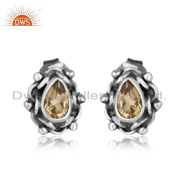 Citrine gemstone designer black oxidized 925 silver stud earrings