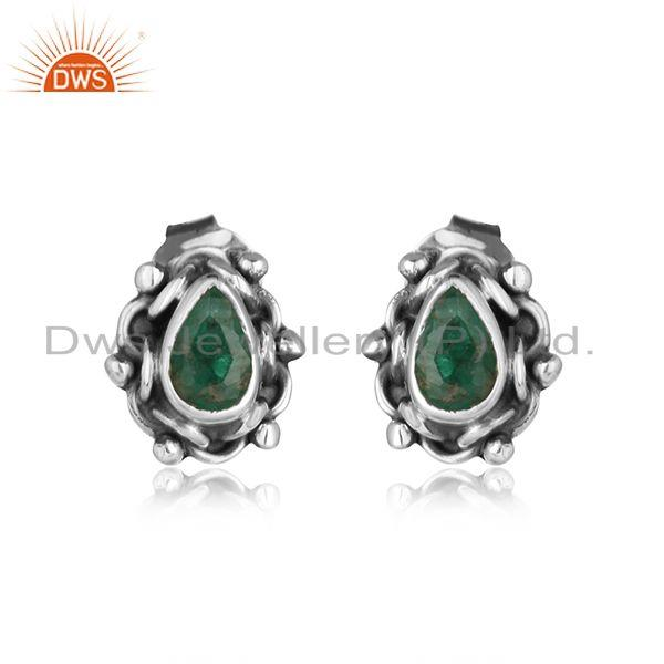 Natural emerald gemstone designer oxidized stud earrings jewelry