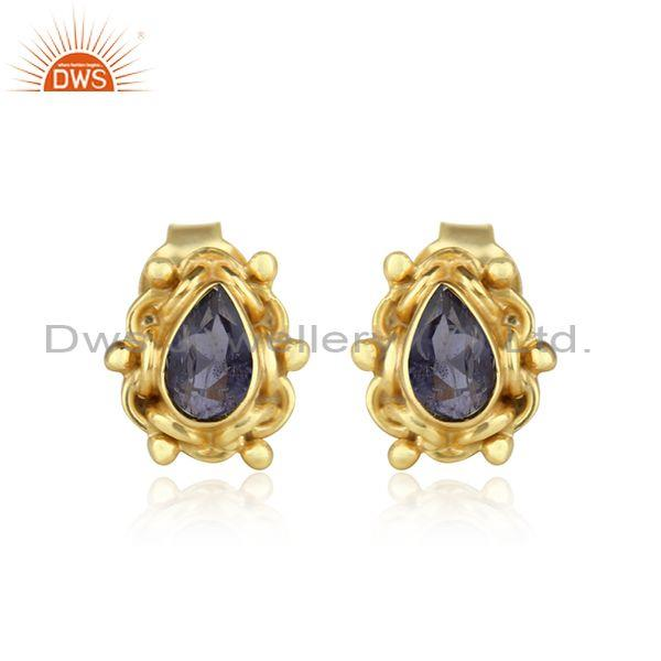 Handmade Iolite Set Gold On Silver Traditional Stud Earring