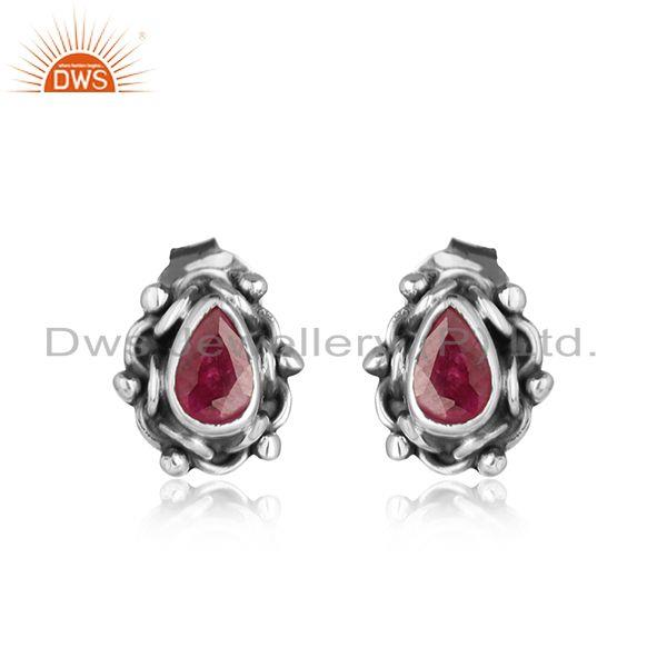 Natural ruby gemstone oxidized 925 silver womens stud earrings