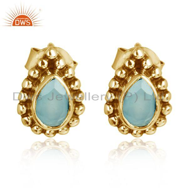 Pear Design Gold Plated 925 Silver Aqua Chalcedony Stud Earrings