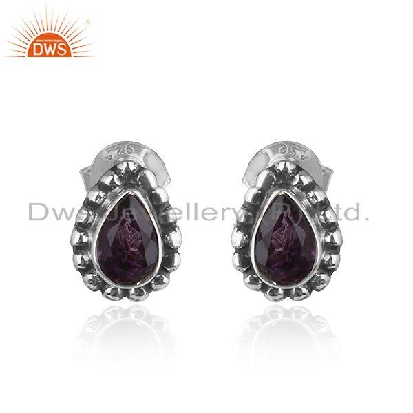 Pear Shape Amethyst Gemstone Silve Oxidized Stud Earrings Jewelry