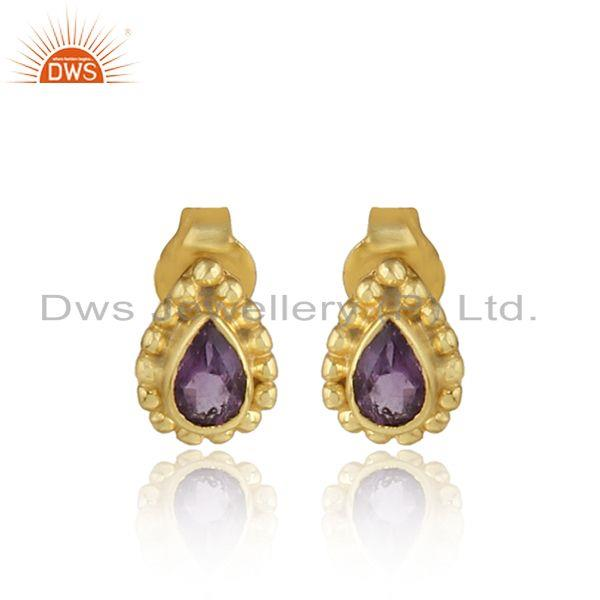Handmade Gold Plated Silver Natural Amethyst Gemstone Stud Earring