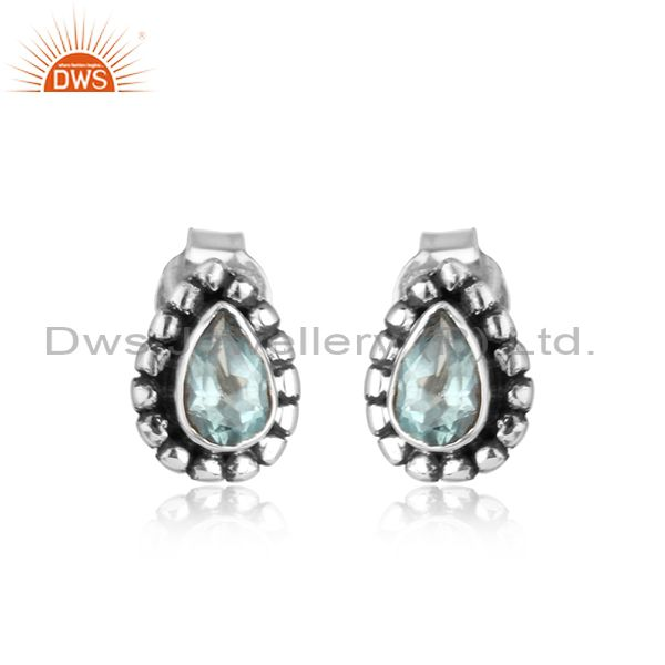Designer blue topaz gemstone handmade oxidized silver stud earrings
