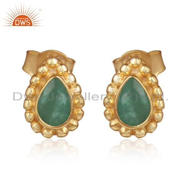 Emerald gemstone designer sterling silver gold plated womens earrings