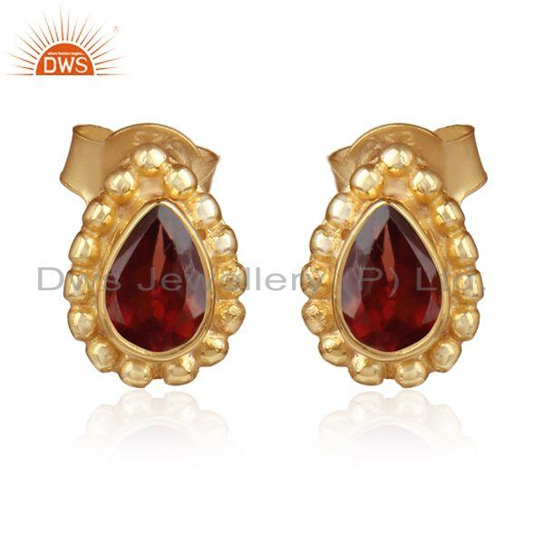 Natural garnet gemstone gold plated sterling silver stud earrings