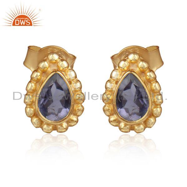 Pear shape iolite gemstone designer gold on silver stud earrings