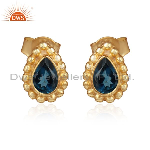 Natural London Blue Topaz Gemstone Gold Plated Silver Stud Earrings