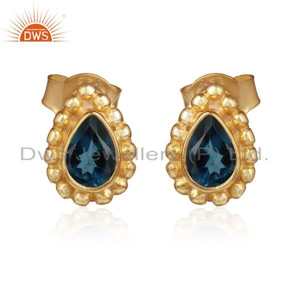 Natural london blue topaz gemstone gold over silver stud earrings