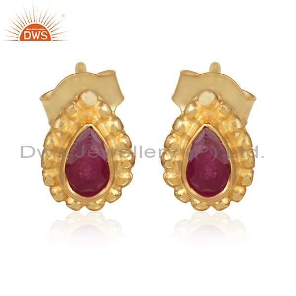 Natural Ruby Gemstone 925 Silver Gold Plated Designer Stud Earrings