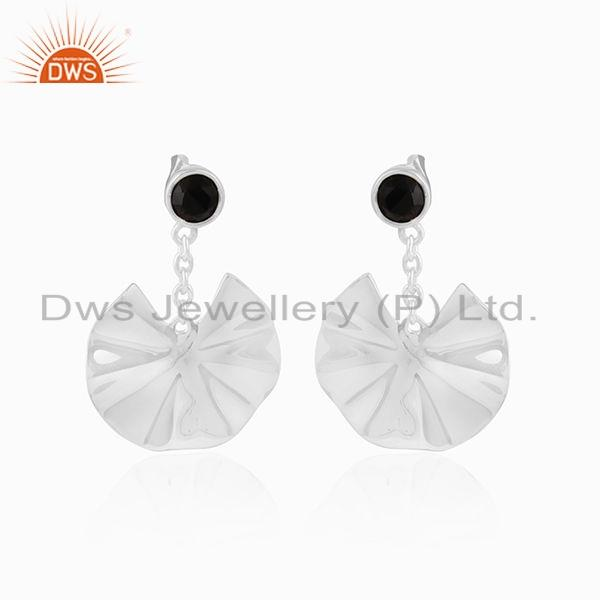 Wavy Disc Design Sterling Silver Black Onyx Gemstone Earrings Jewelry