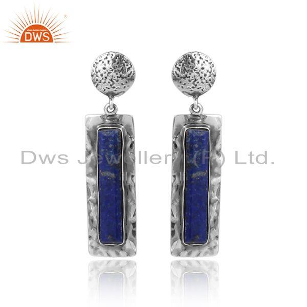 Oxidized texture 925 silver lapis lazuli gemstone dangle earrings