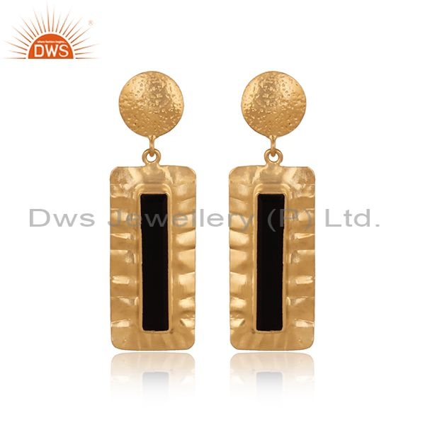 Handmade Gold Plated Silver Texture Design Black Onyx Earrings