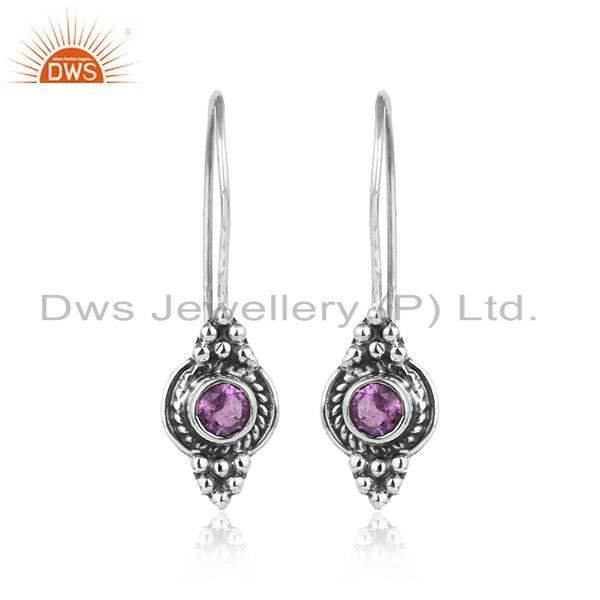 Antique Oxidized 925 Silver Natural Amethyst Gemstone Earrings