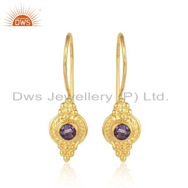 New arrival gold plated silver amethyst gemstone handmade earring