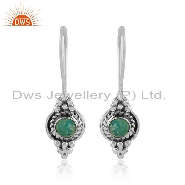 Arizona turquoise gemstone oxidized designer silver earrings jewelry