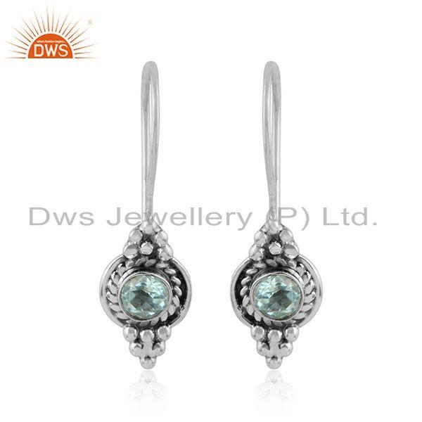 Blue Topaz Gemstone Womens 925 Sterling Silver Oxidized Earrings