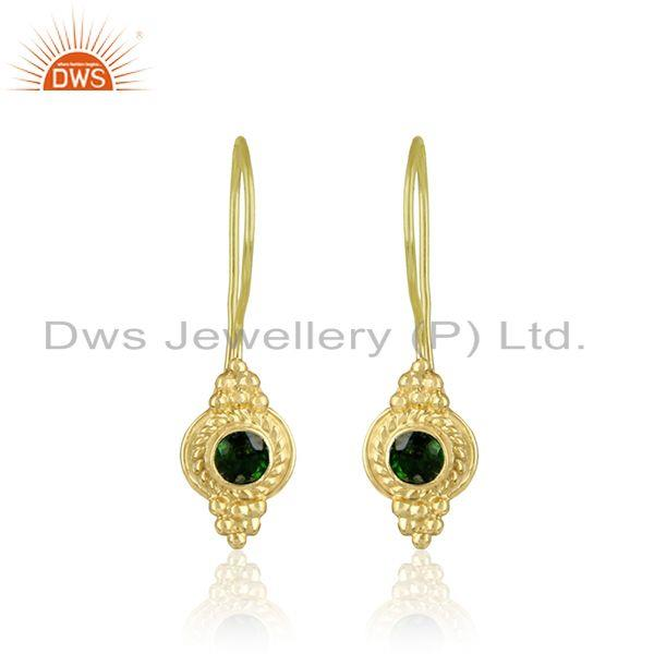 Textured earring in yellow gold over silver with chrom diopside