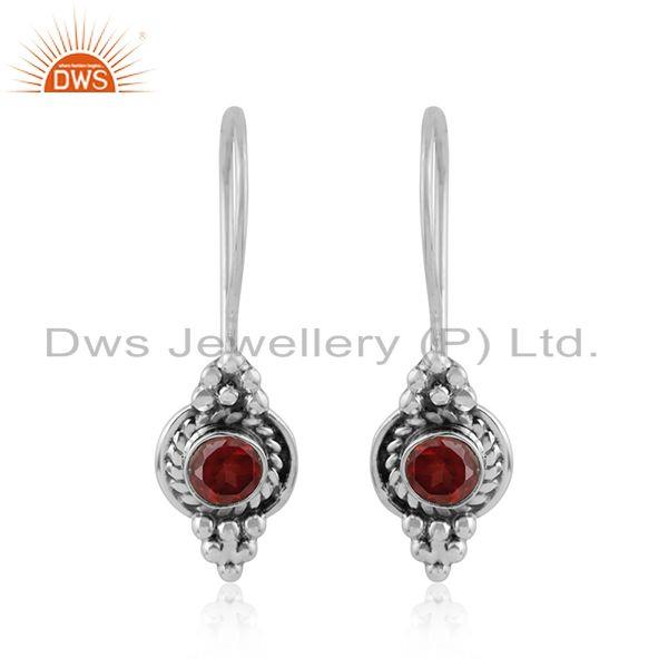 Natural garnet gemstone designer sterling silver oxidized earrings